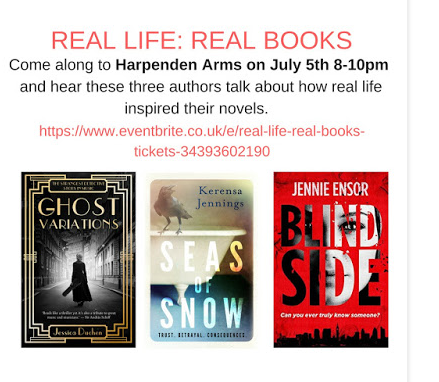Harpenden event poster with 3 books