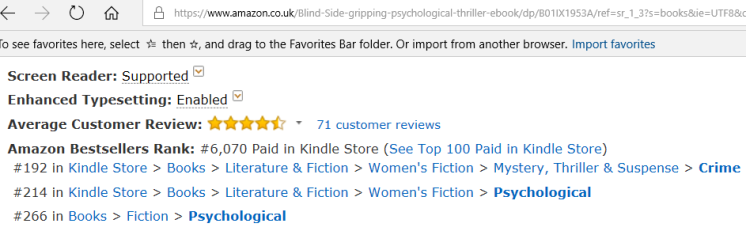 Amazon uk ranking 5 March 2018 7am