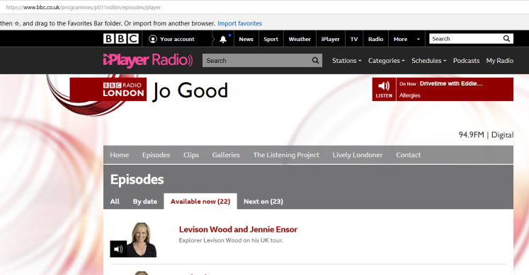 jo good show listing on bbc site 25 sep 2018
